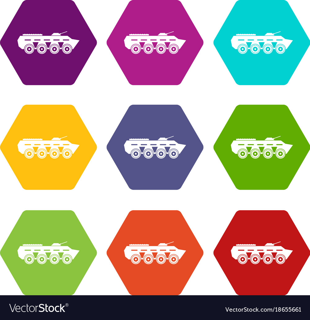 Army battle tank icon set color hexahedron vector image