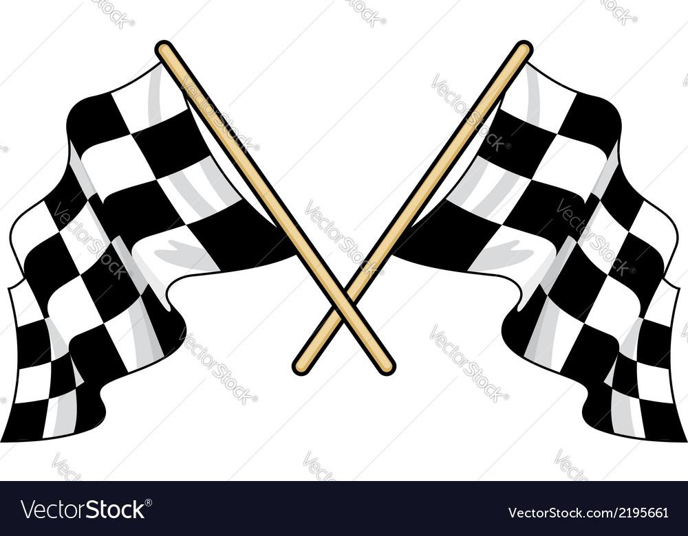 Crossed waving motor sport flags