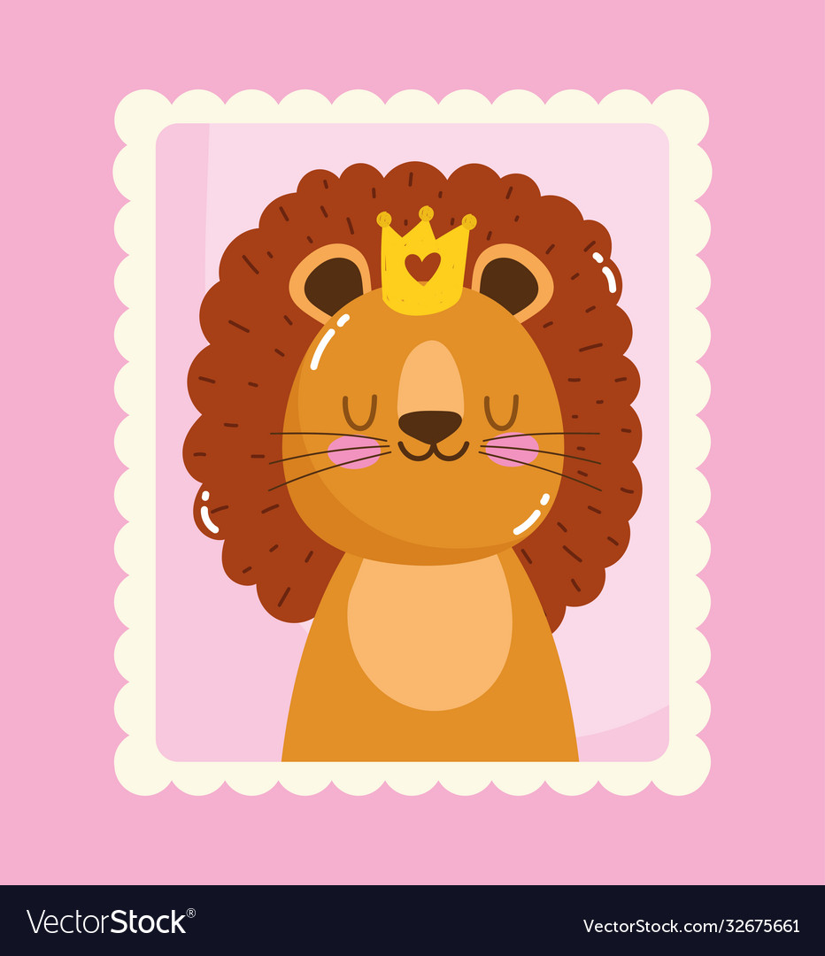 Cute Little Lion With Crown Animals Cartoon Vector Image Mosaic low polygon style illustration of a lion with big mane wearing a tiara crown viewed from. cute little lion with crown animals cartoon vector image