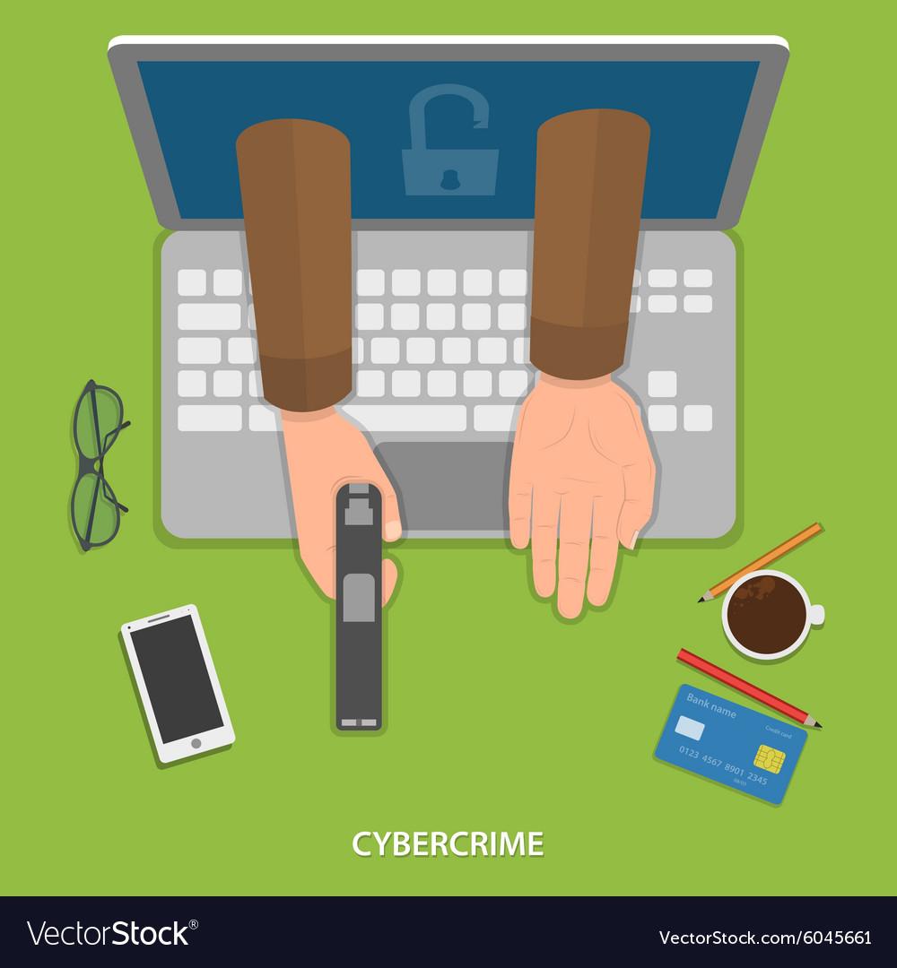 Cybercrime flat concept vector image