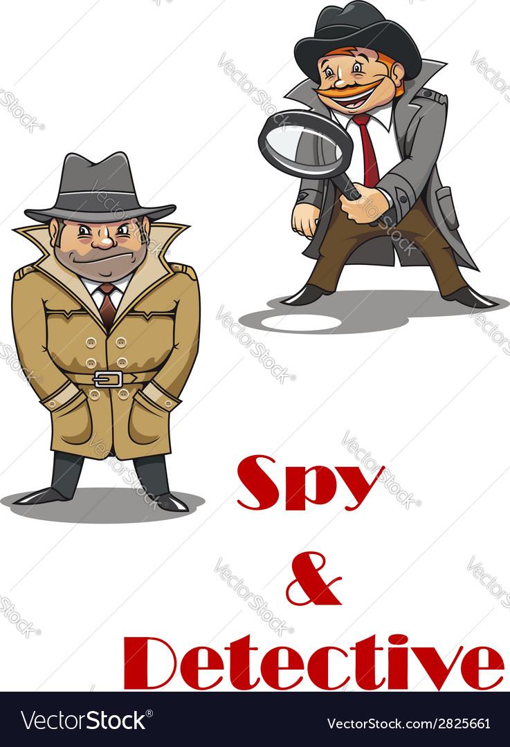 Detective and spy man cartoon characters