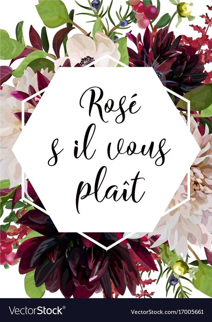 Floral card design pink rose burgundy dahlia