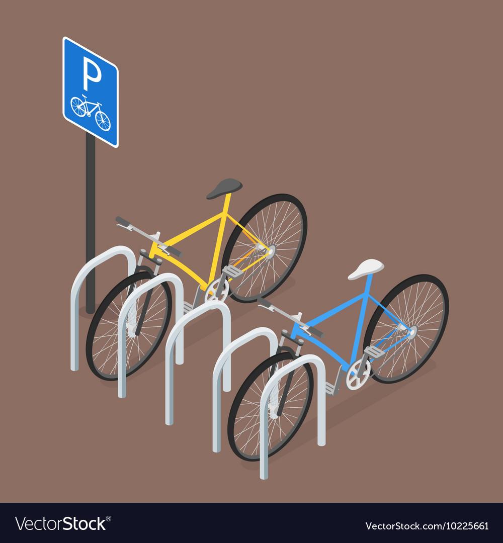 Isometric Bicycle Parking Flat style