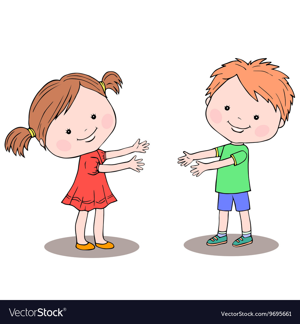 little girl and boy standing next to each other vector image