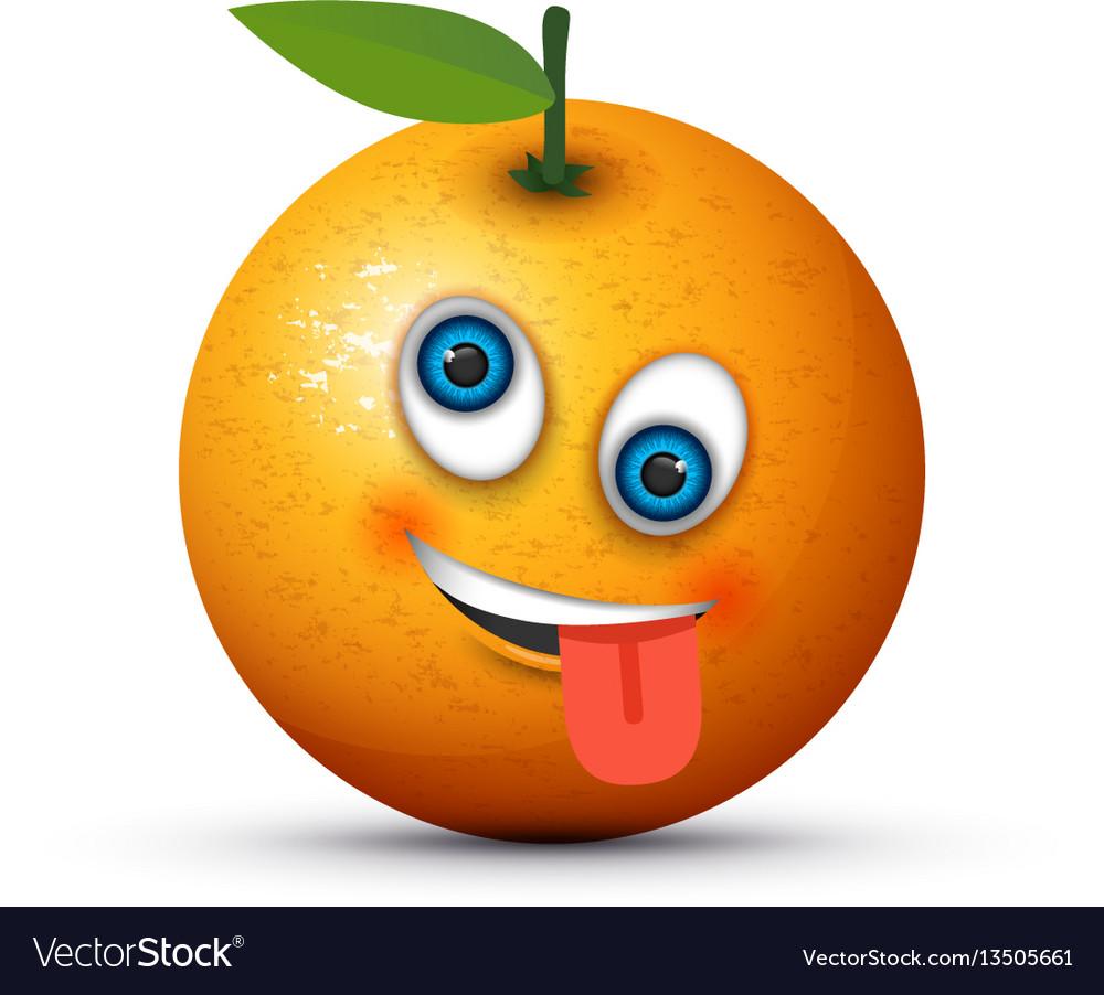 Orange crazy emoji vector image