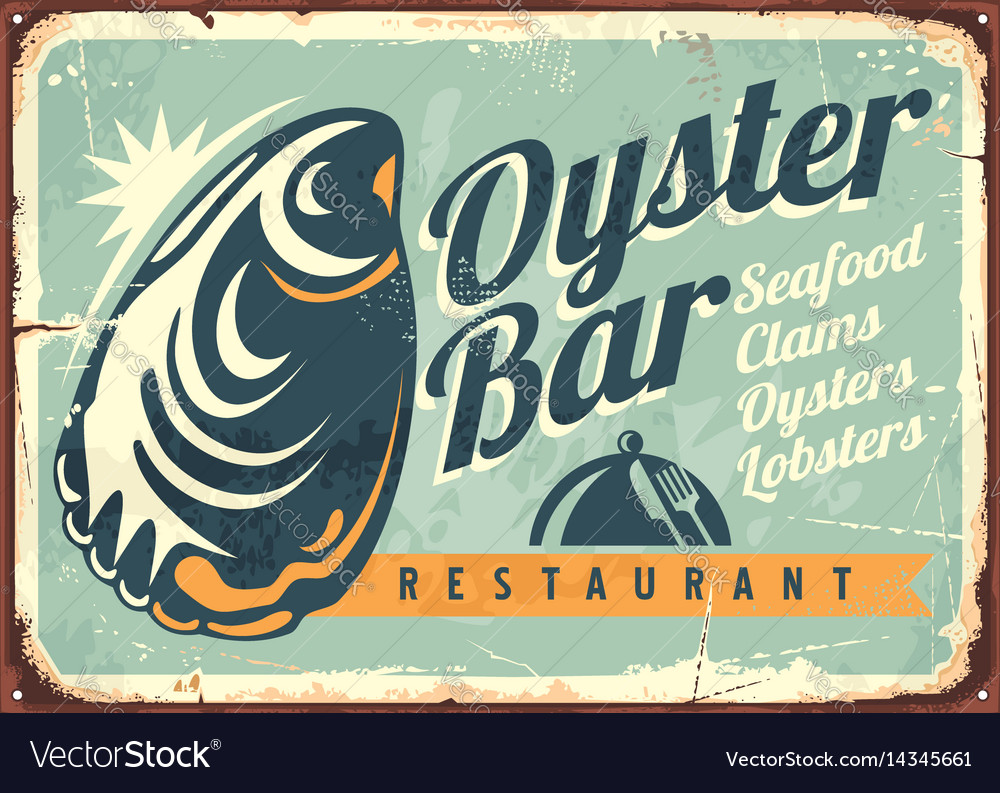 Oyster bar creative retro sign design vector image
