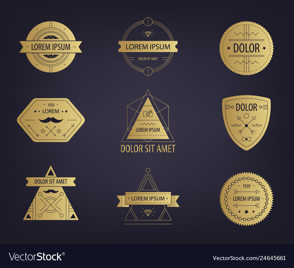 Set of abstract hipster golden labels