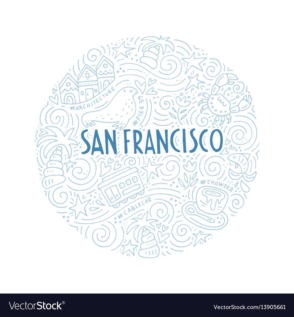 The Circle With San Francisco Symbols Royalty Free Vector