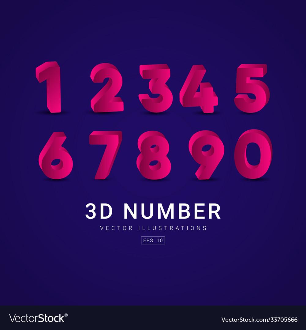 3 d number label template design