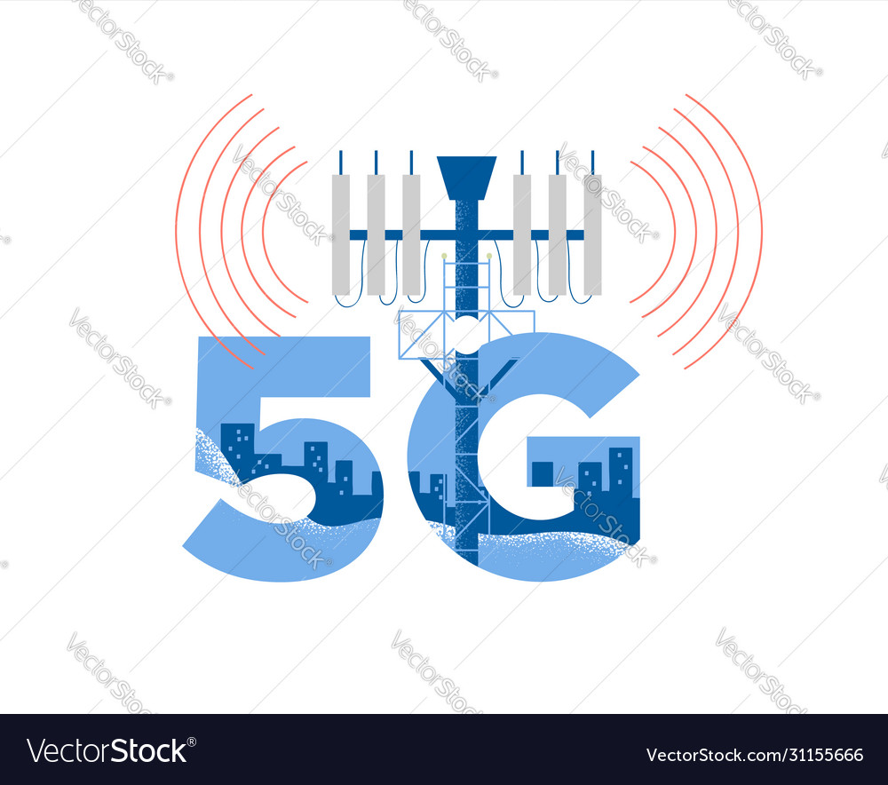 5g tower health risk radiation concept isolated