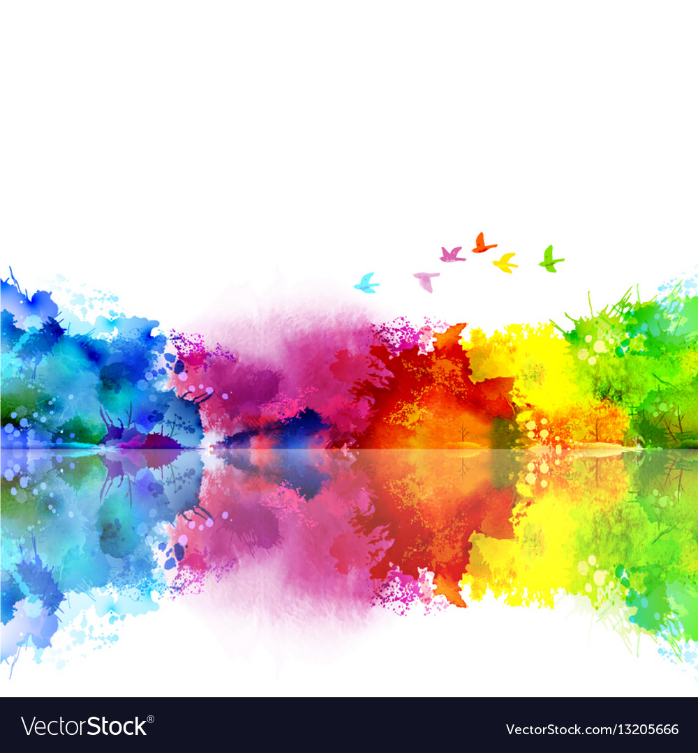 Abstract watercolor fantastic landscape with a vector image