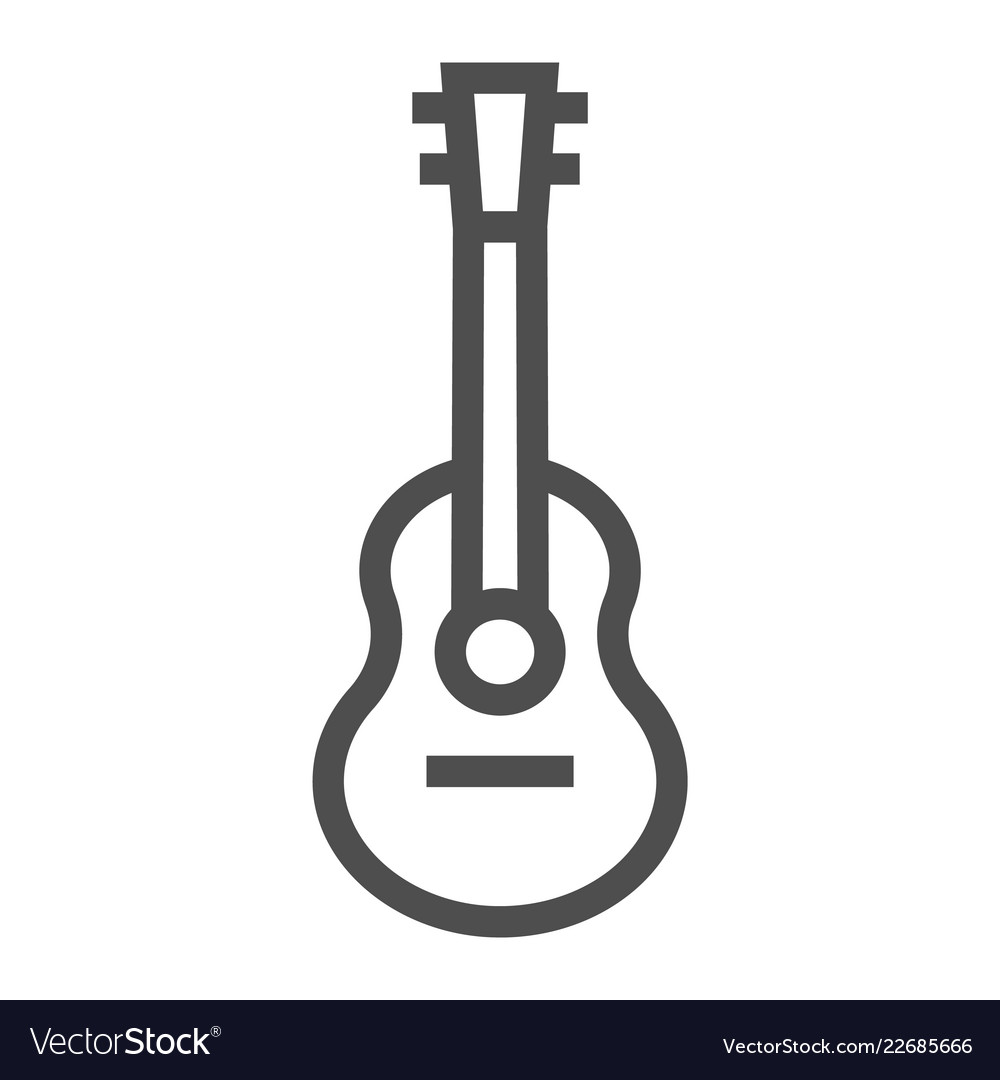 Acoustic guitar line icon music and string