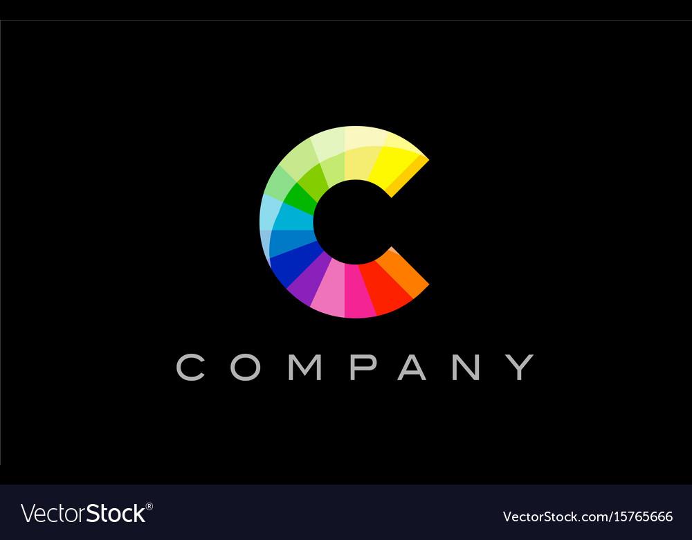 C alphabet letter mosaic design vector image