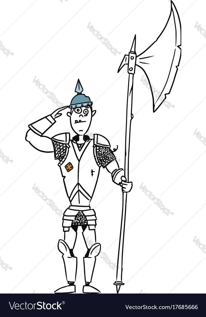 cartoon medieval fantasy knight guard soldier vector image
