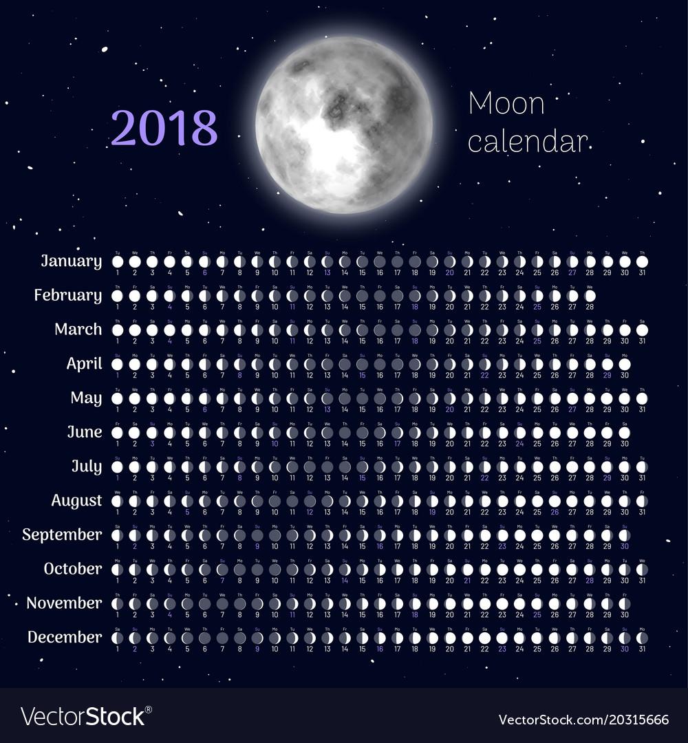 Moon Calendar 2018 Year Royalty Free Vector Image