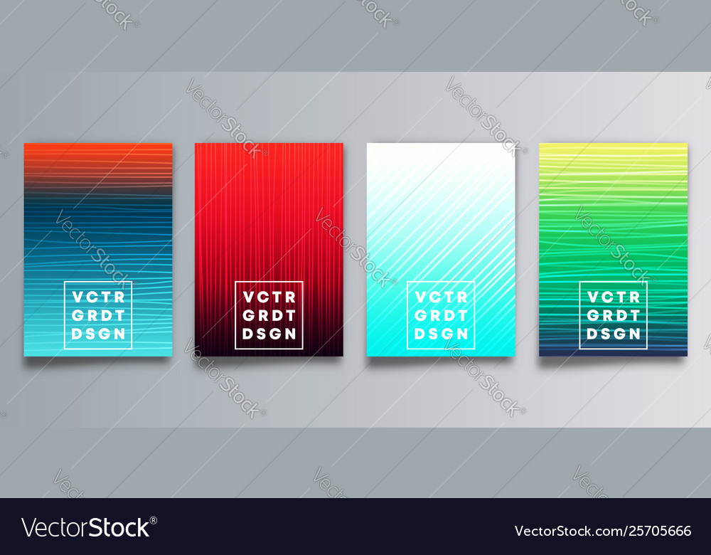 Set colorful gradient cover with hand drawn