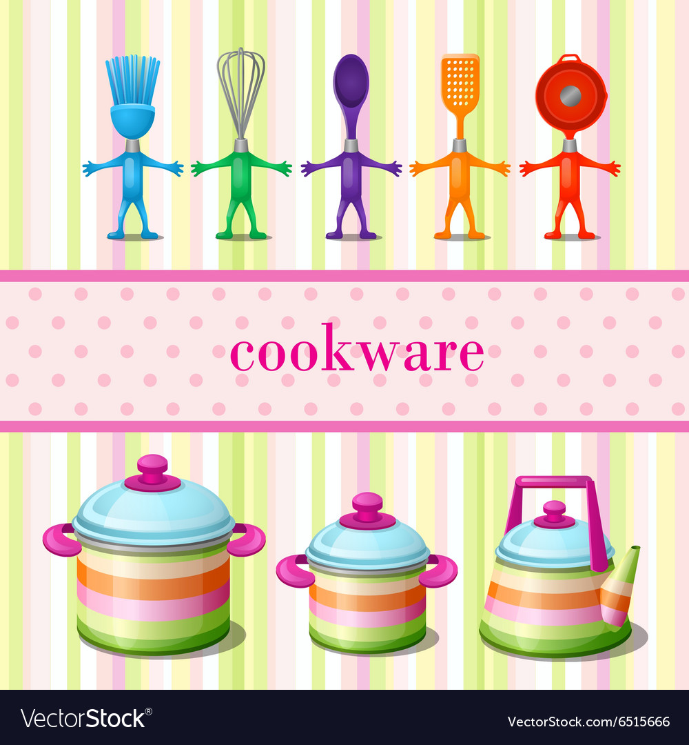 Set of kitchen cookware with space for text