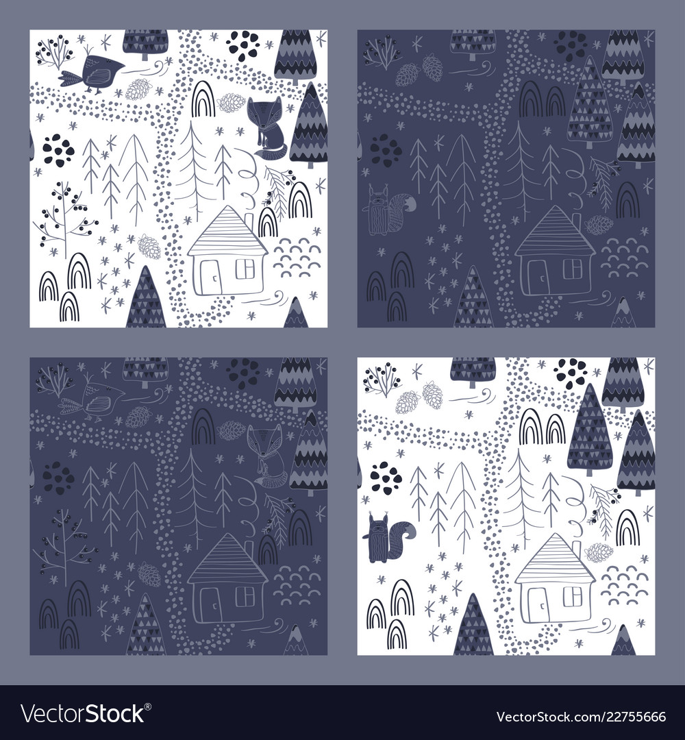 Set of winter forest background with animals and