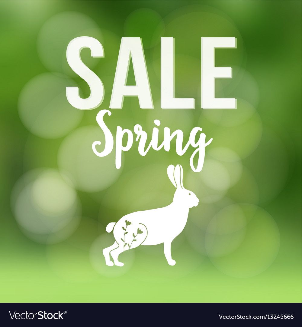 Spring sale poster with blurred background