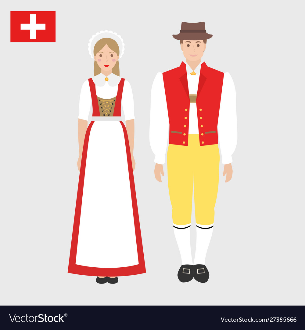 Swiss in national costume with a flag