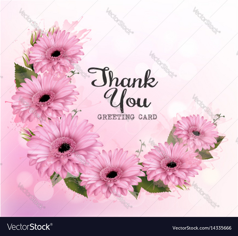 Thank you background with pink beautiful flowers vector image izmirmasajfo