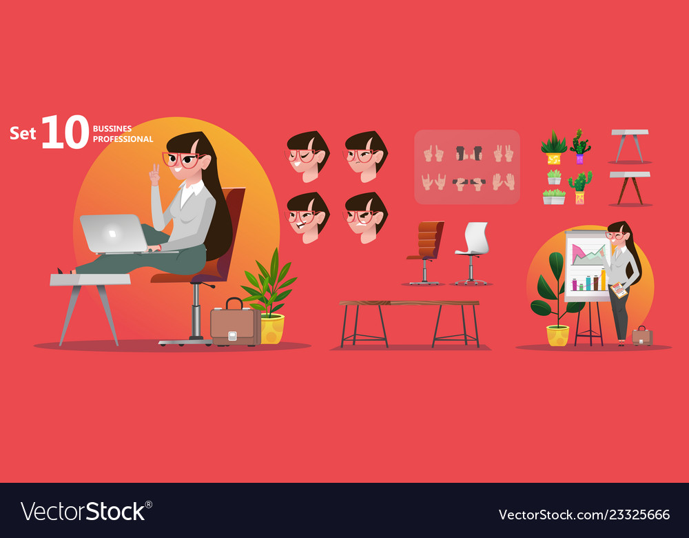 Woman office professions stylized characters set