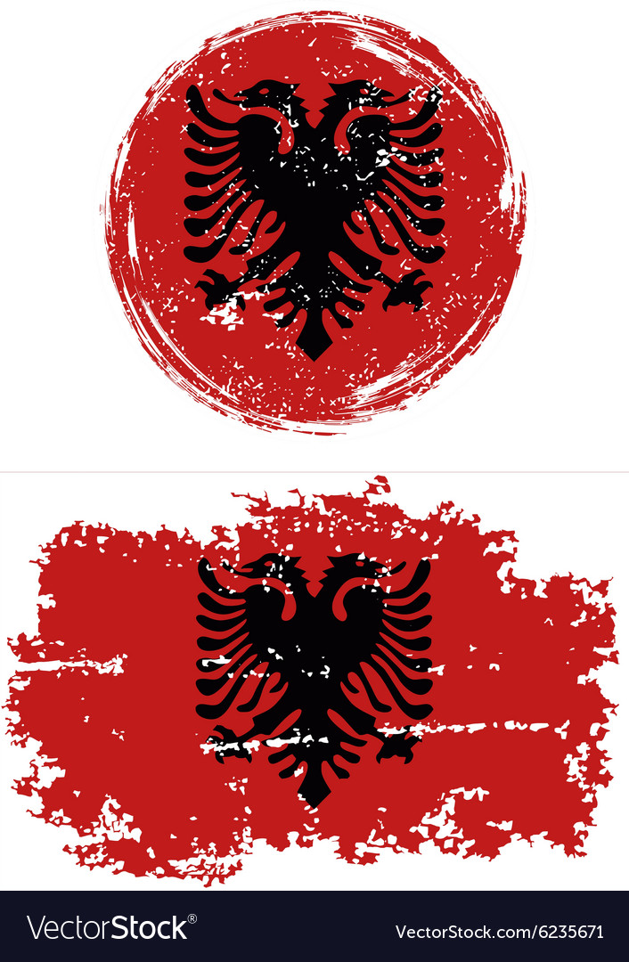 Albanian round and square grunge flags