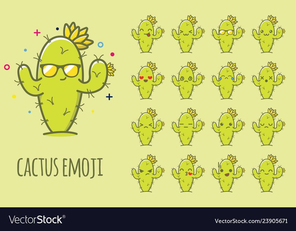 Cactus emoji sticker icon set