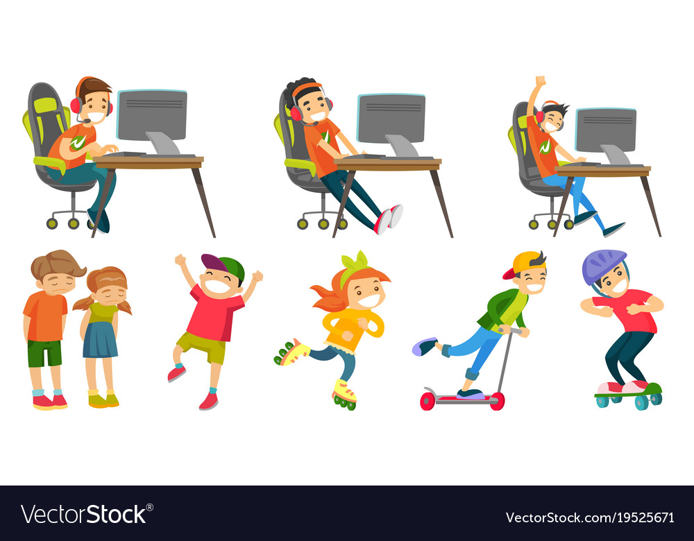 Caucasian girls and boys set vector image