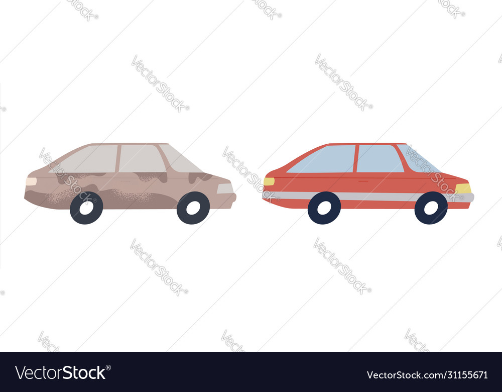 Clean and dirty cars isolated for car wash concept