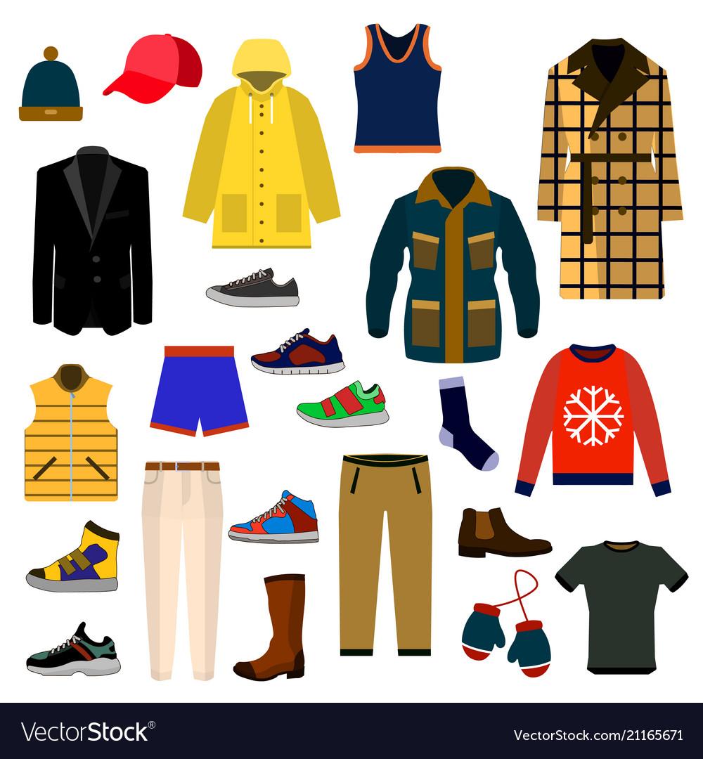 Clothes and accessories fashion big icon set men