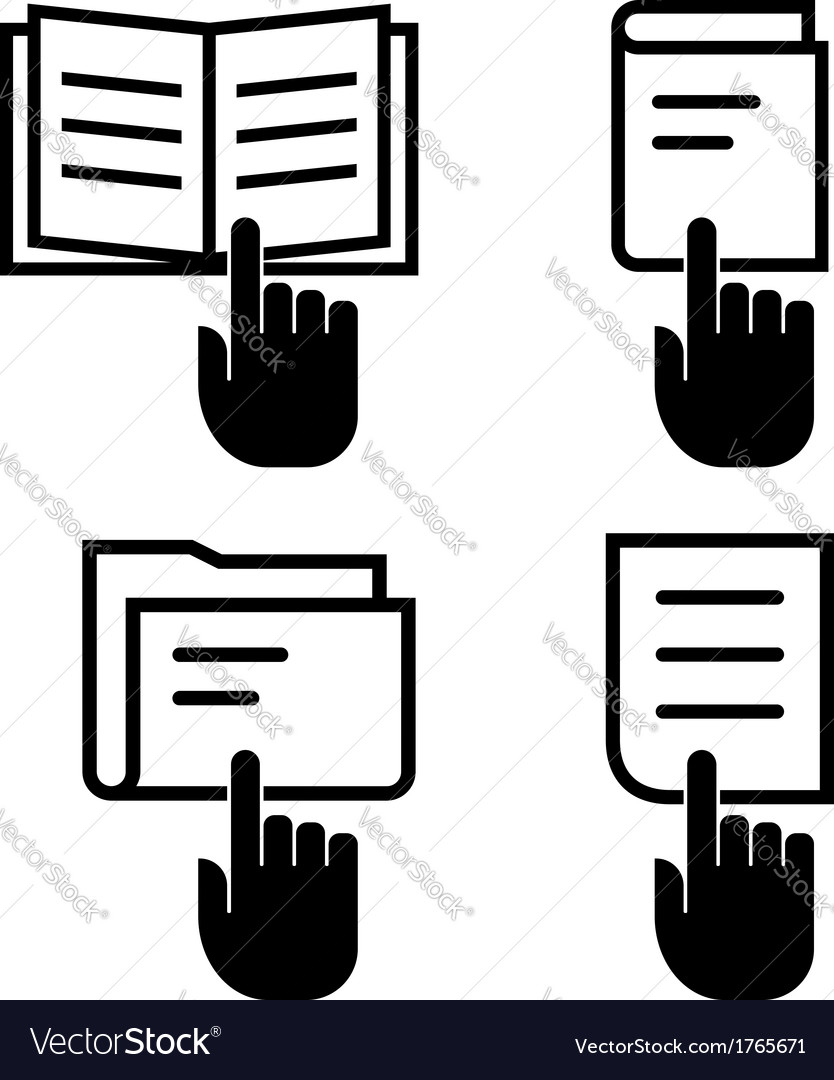 Open document icon set vector image