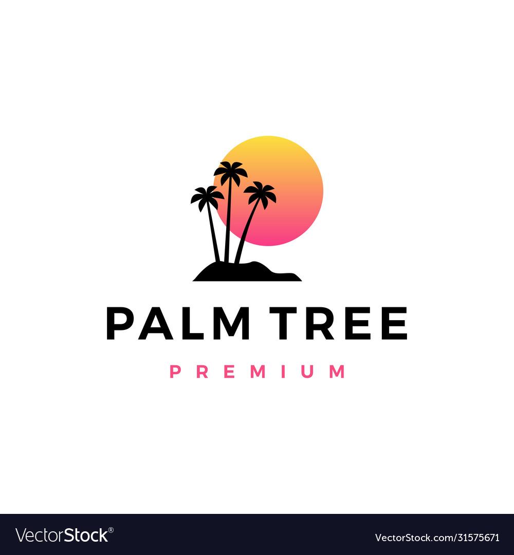 Palm tree sunset logo icon