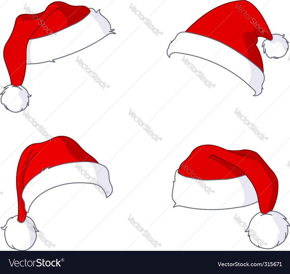 santa hats royalty free vector image vectorstock rh vectorstock com vector santa hat and beard vector santa claus hat