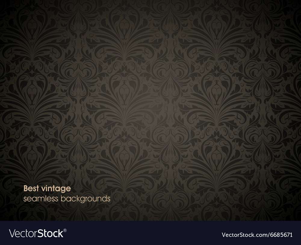 Seamless Black Floral Background Royalty Free Vector Image