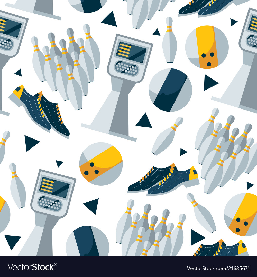Seamless pattern with bowling objects
