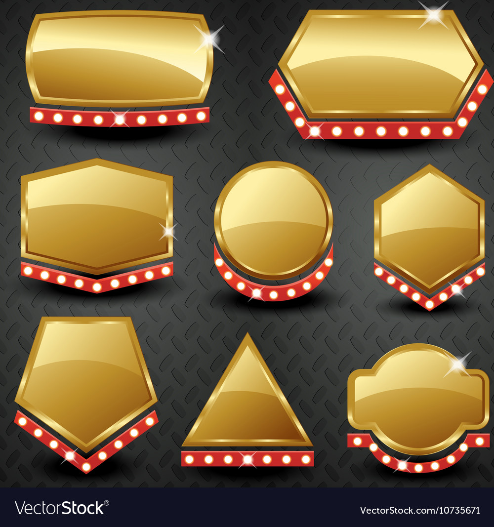 Set of blank golden vintage framebannerlabel