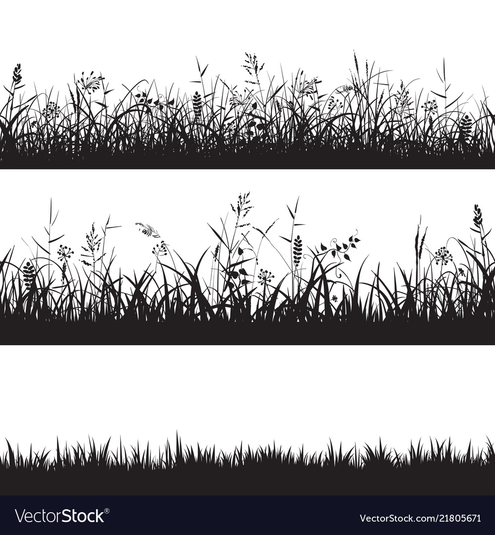 Set of grass seamless borders black silhouette of