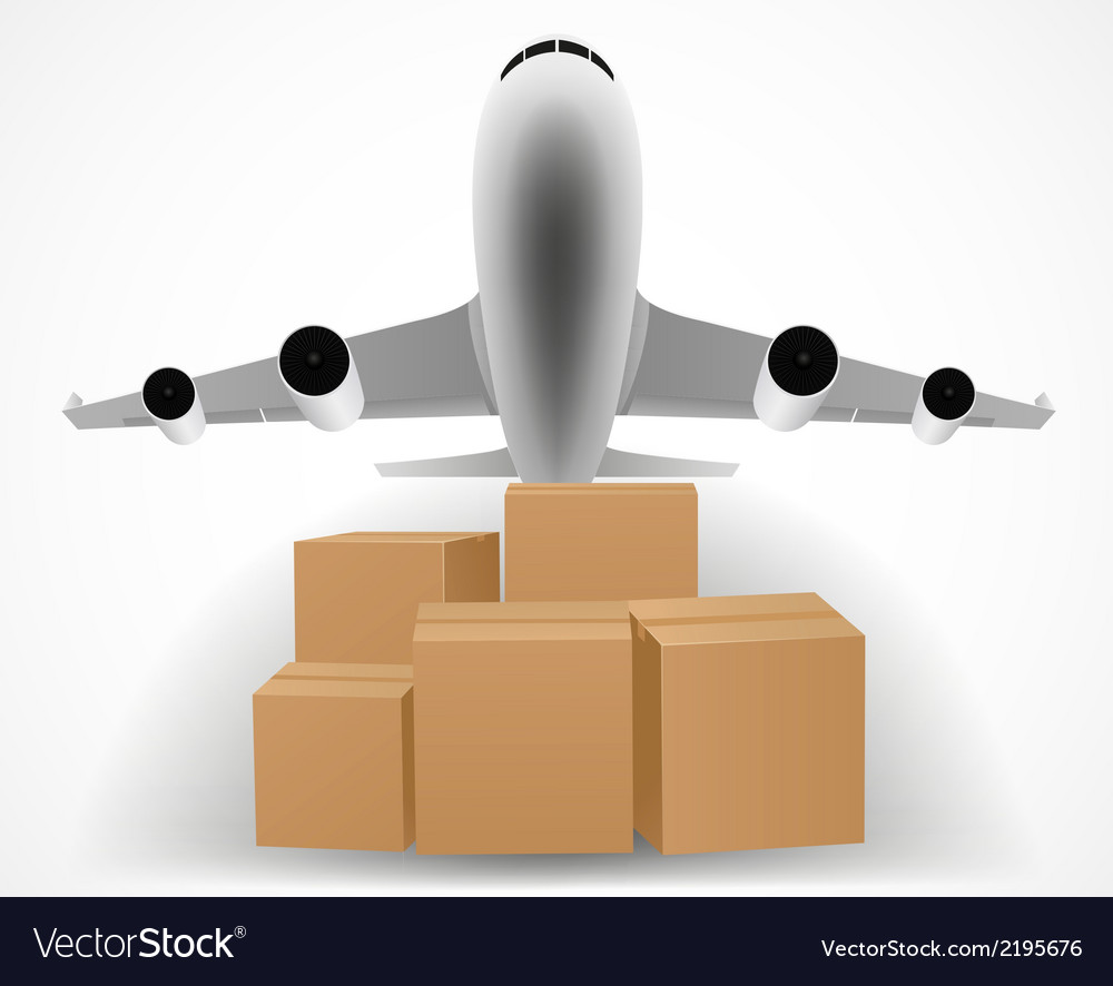 Airplane delivery concept with pile of packages