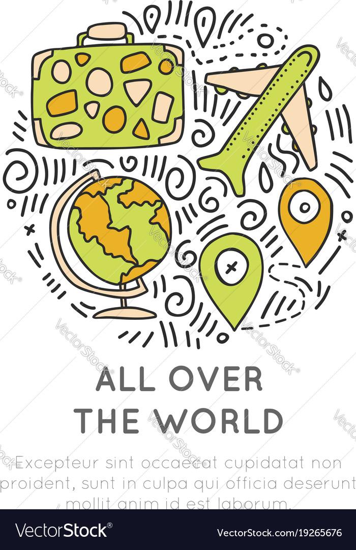 Around the world icon hand draw cartoon icon