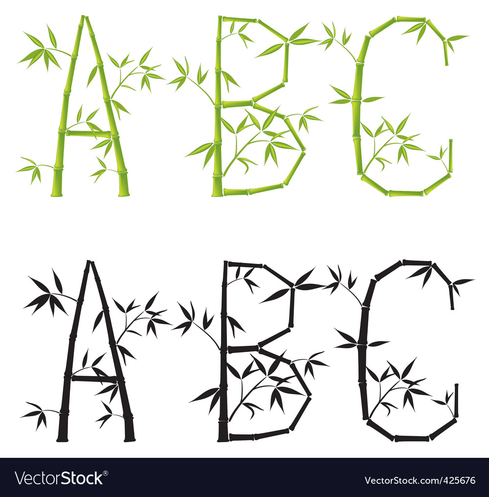 Bamboo letters set vector mesh
