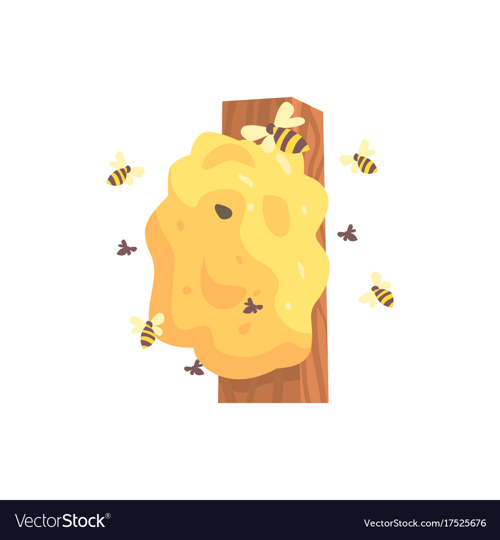 Beehive hornets or wasp nest cartoon