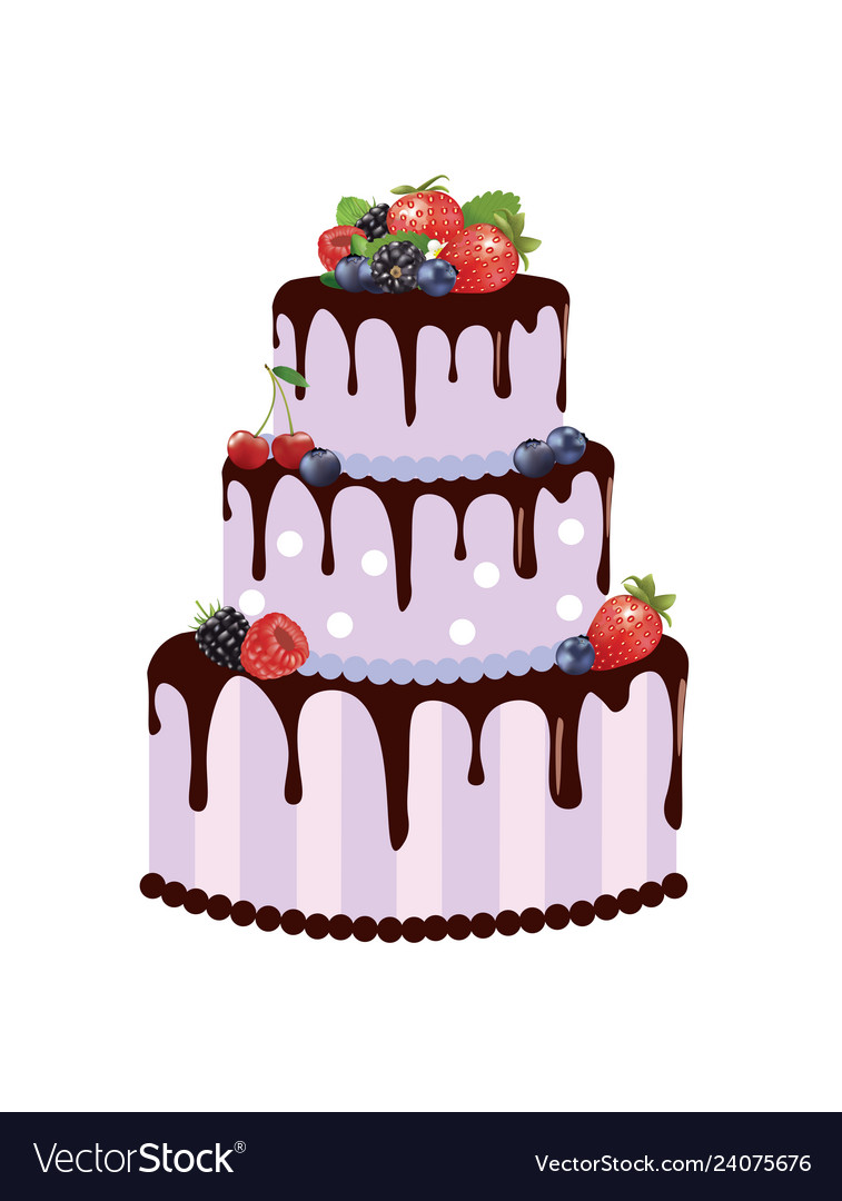 Astonishing Big Birthday Cake With Forest Fruits Royalty Free Vector Funny Birthday Cards Online Alyptdamsfinfo