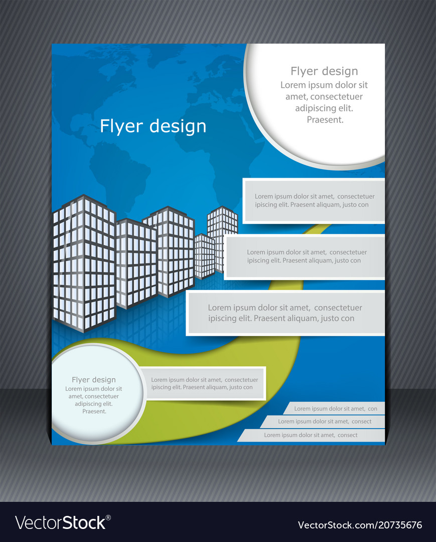 Blue business flyer or brochure design template