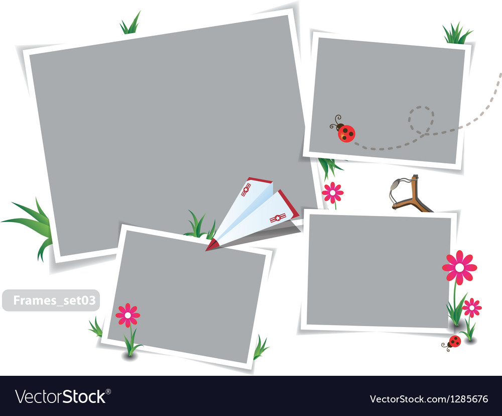 Childhood summer photo frames Royalty Free Vector Image