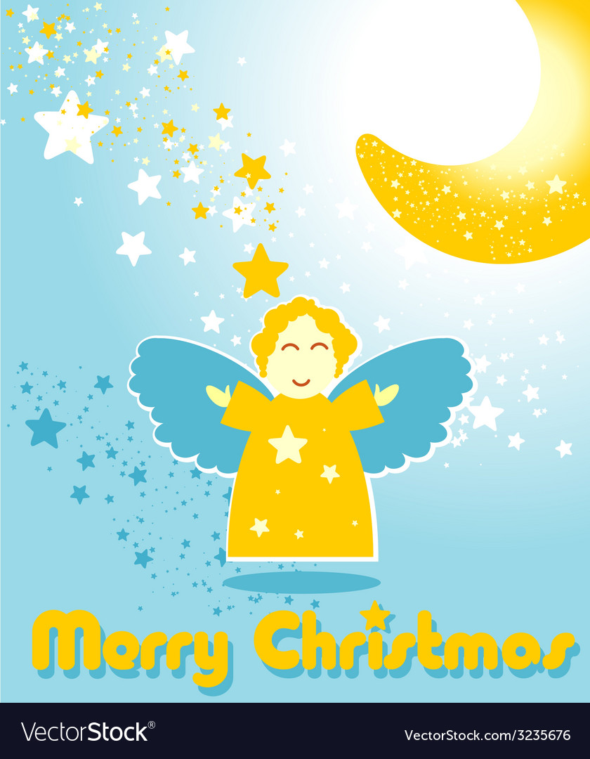 Christmas card with funny angel and the moon