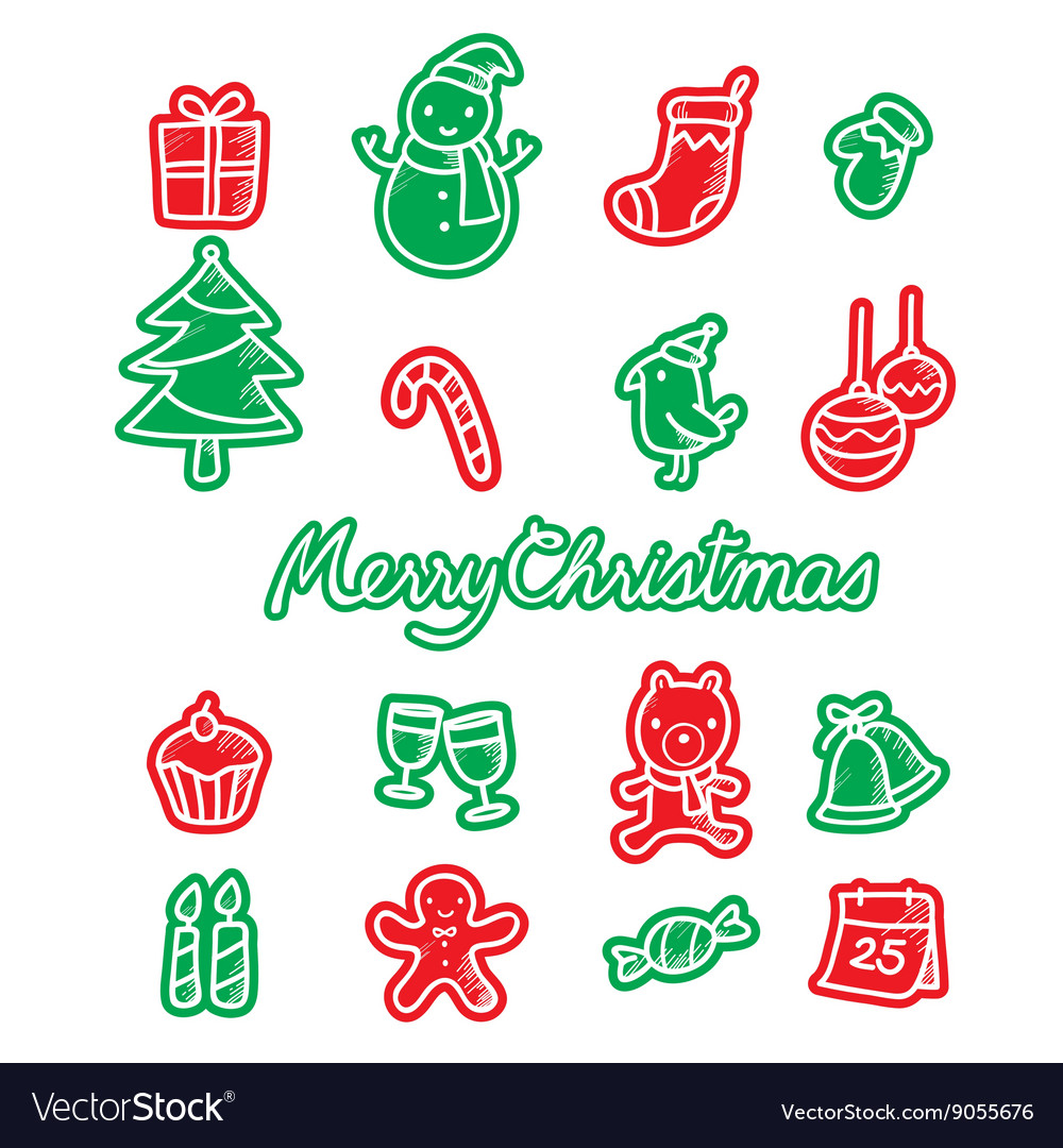 Christmas Outline Icons Set Color
