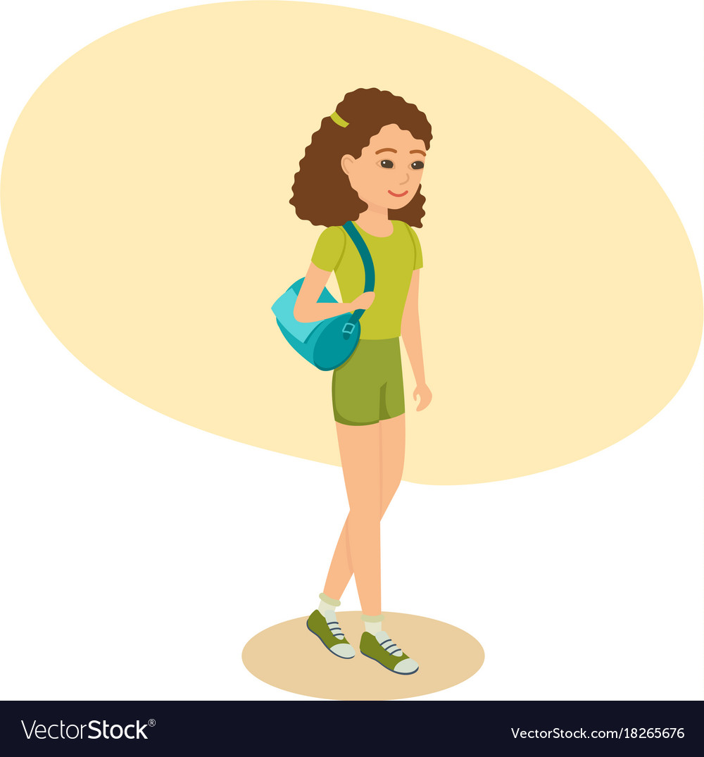 Girl with bag on her shoulder goes to training
