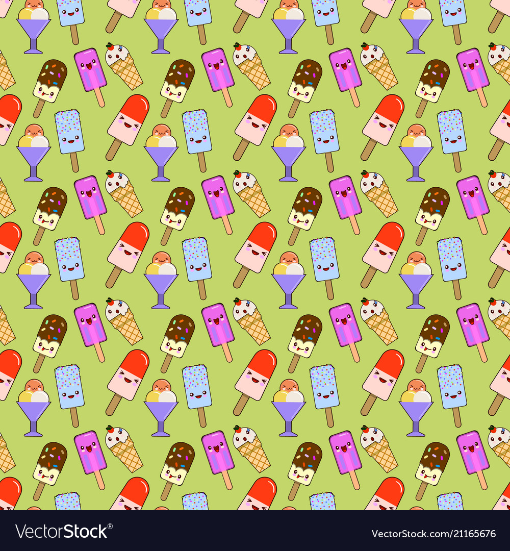 Ice cream cones pattern seamless color of