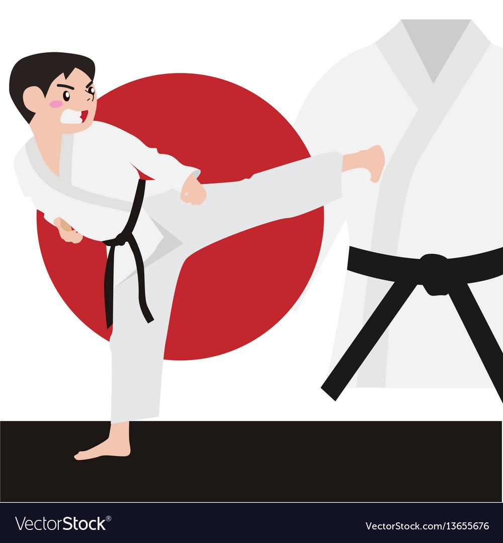 Karate athletic sport cartoon set vector image
